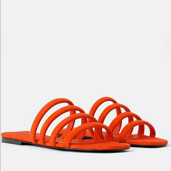 ZARA Orange Tube Tubular Sandals Slides sz 40